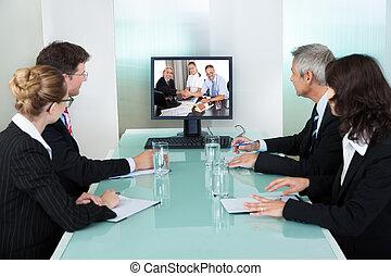 őrzés, bemutatás, businesspeople, online