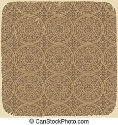 ősi, ábra, szüret, eps10., pattern., seamless, vektor, háttér, idős