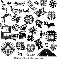 ősi, amerikai, tervezés elem