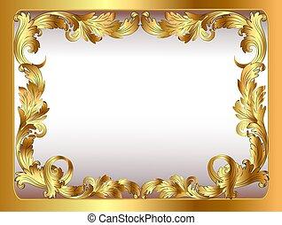 ősi, arany, díszítés, ábra, keretezett, háttér, vegetative