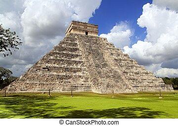 ősi, chichen itza, mayan, piramis, halánték, mexikó