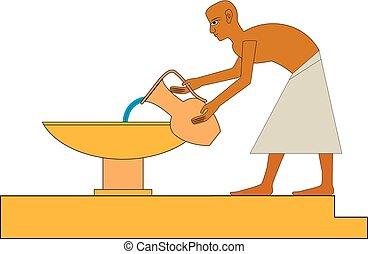 ősi, csoport, emberek, egyiptom, emberek., ábra, emberek, állhatatos, falfestmények, nyle