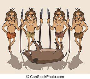 ősi, csoport, vadászok, vektor, zsákmány, karikatúra