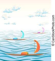 ősi, elhomályosul, ábra, vektor, tenger, lenget, táj, boats.