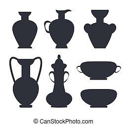 ősi, elszigetelt, körvonal, vektor, fekete, váza