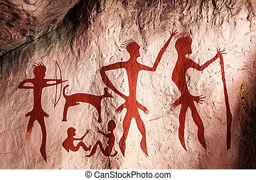 ősi, festészetek, képben látható, a, megkövez, barlang,...