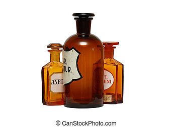 ősi, gyógyszerészeti, üvegcse