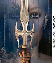 ősi, kard, nő