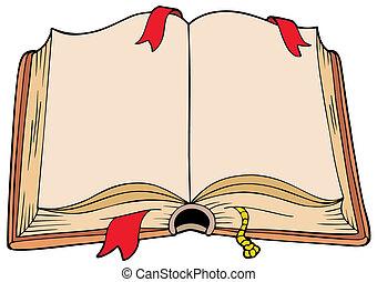 ősi, kinyitott, könyv