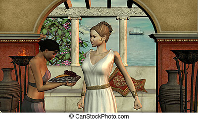 ősi, leány, nő, színhely