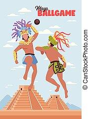 ősi, maya, háttér, sport
