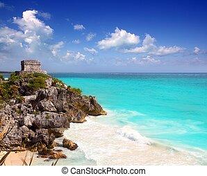 ősi, mayan, tönkretesz, tulum, caribbean, türkiz
