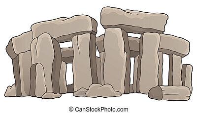 ősi, megkövez, emlékmű, téma, 1