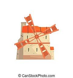 ősi, megkövez, szélmalom, épület, karikatúra, vektor, ábra