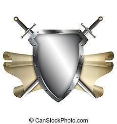 ősi, pajzs, noha, felcsavar, és, két, kard, white, háttér.