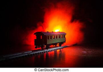 ősi, railroad., elbocsát, gőz, háttér., kiképez, mozgató, éjszaka, narancs, fog., lokomotív, night.