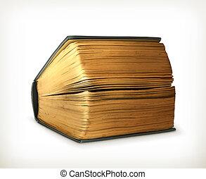ősi, vektor, könyv