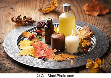 ősz, ásványvízforrás, és, aromatherapy