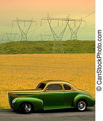 ősz, autó, klasszikus, mező