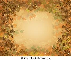 ősz, bukás, háttér, zöld