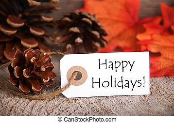 ősz, címke, noha, boldog, ünnepek