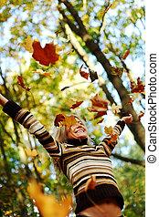 ősz, csepp, zöld, nő, liget