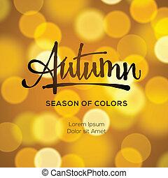 ősz, elvont, defocused, háttér, arany