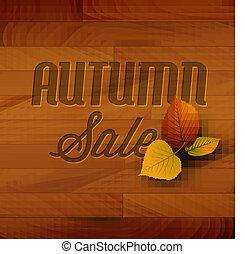 ősz, fából való, vektor, kiárusítás, háttér