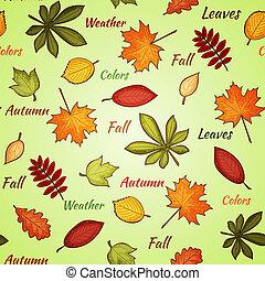 ősz, fény, zöld, seamless, motívum
