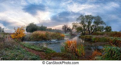 ősz, folyó, köd, reggel