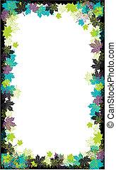 ősz, frame:, juharfa, leaf., állás, helyett, -e, szöveg, here.
