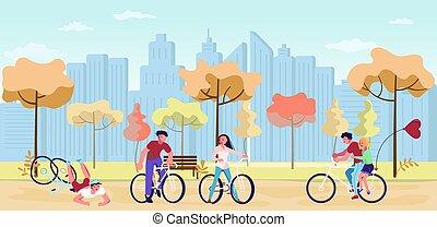 ősz, gyalogló, emberek, liget