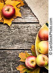 ősz, háttér, noha, alma