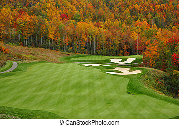 Ősz, hegy,  golf, Folyik