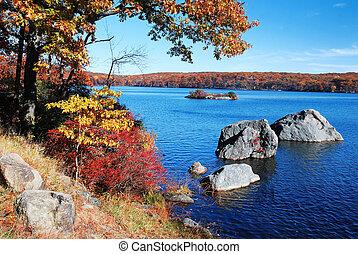 ősz, hegy tó
