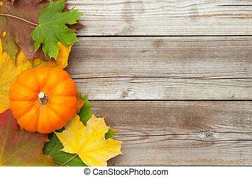 ősz, juharfa, őt lap, sütőtök