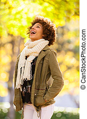ősz, külső, portré, közül, gyönyörű, african american, kisasszony, -, fekete, emberek