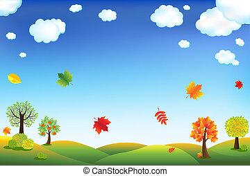 ősz, karikatúra, táj