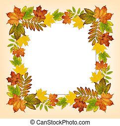 ősz kilépő, kártya, keret, színes