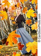 ősz kilépő, nő, park.