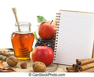 ősz, kosár, jegyzetfüzet, alma, háttér