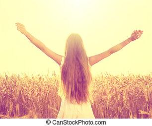 ősz, leány, élvez, természet, képben látható, a, mező