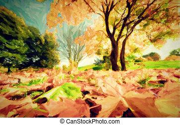 ősz, liget, festmény, táj, bukás
