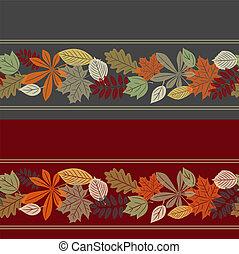 ősz, motívum, levél növényen, seamless, színes