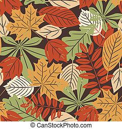 ősz, motívum, zöld, seamless, retro