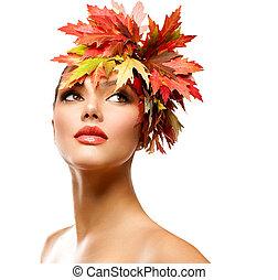 ősz, nő, mód, portrait., szépség, ősz, leány