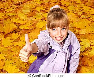 ősz, narancs, leaves., kölyök