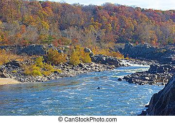 ősz, potomac folyó, folyik