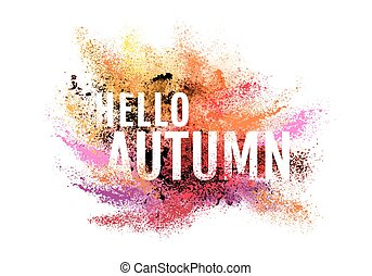 ősz, színes, leporol, festék, vektor