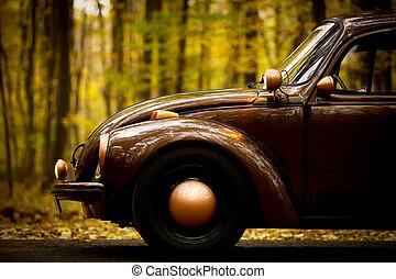 ősz, szüret autó